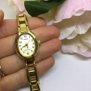 Timed essentials gold tone wrist watch dainty